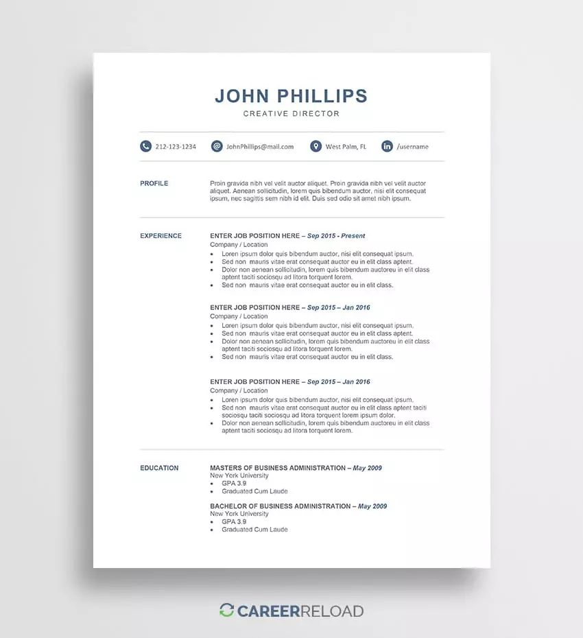 ats resume template word free