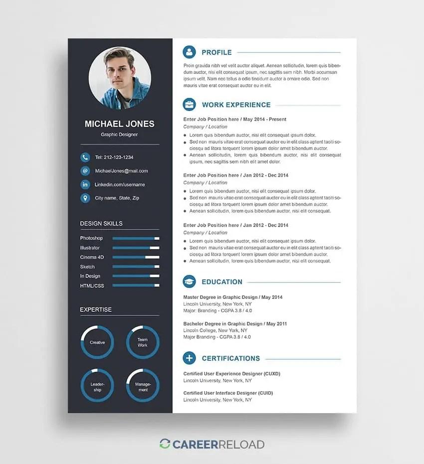 Free Photoshop Resume Templates Free Download Career