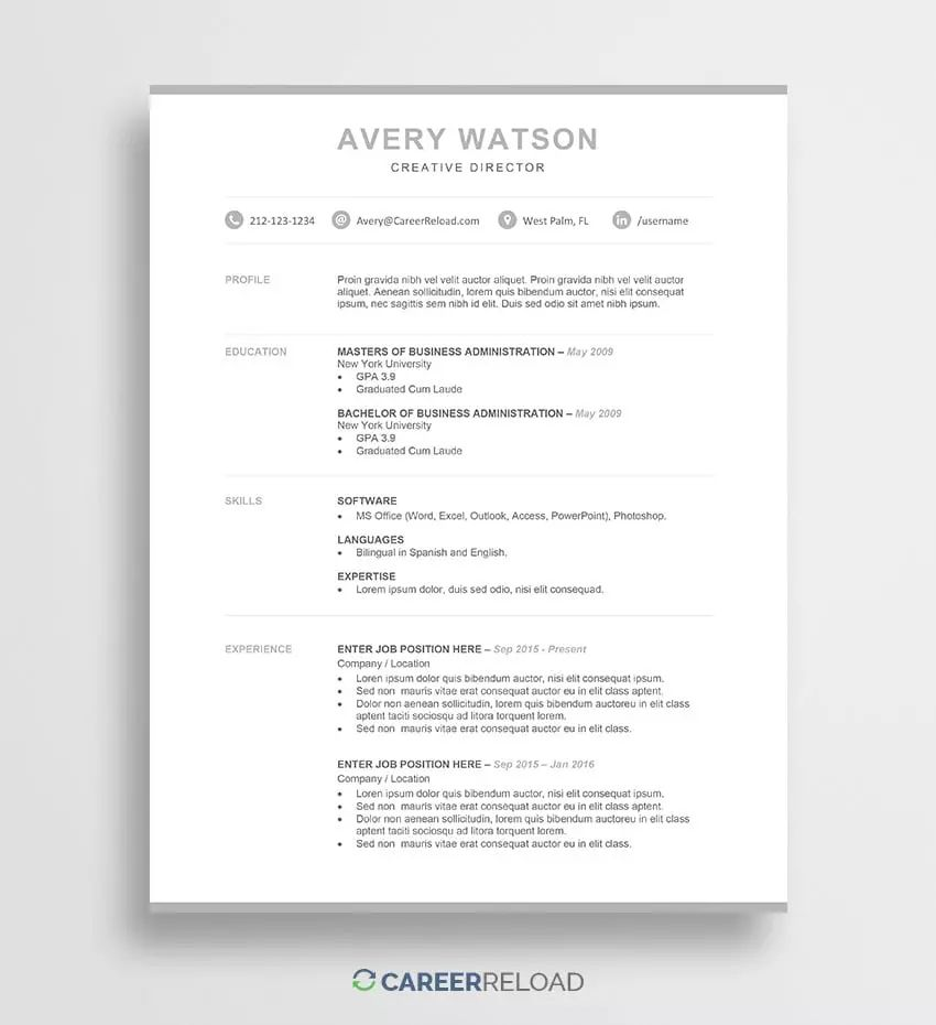 free resume with cover letter templates