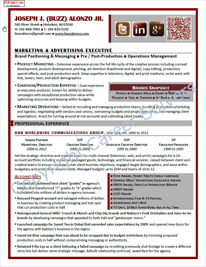 advertising executive resume samples