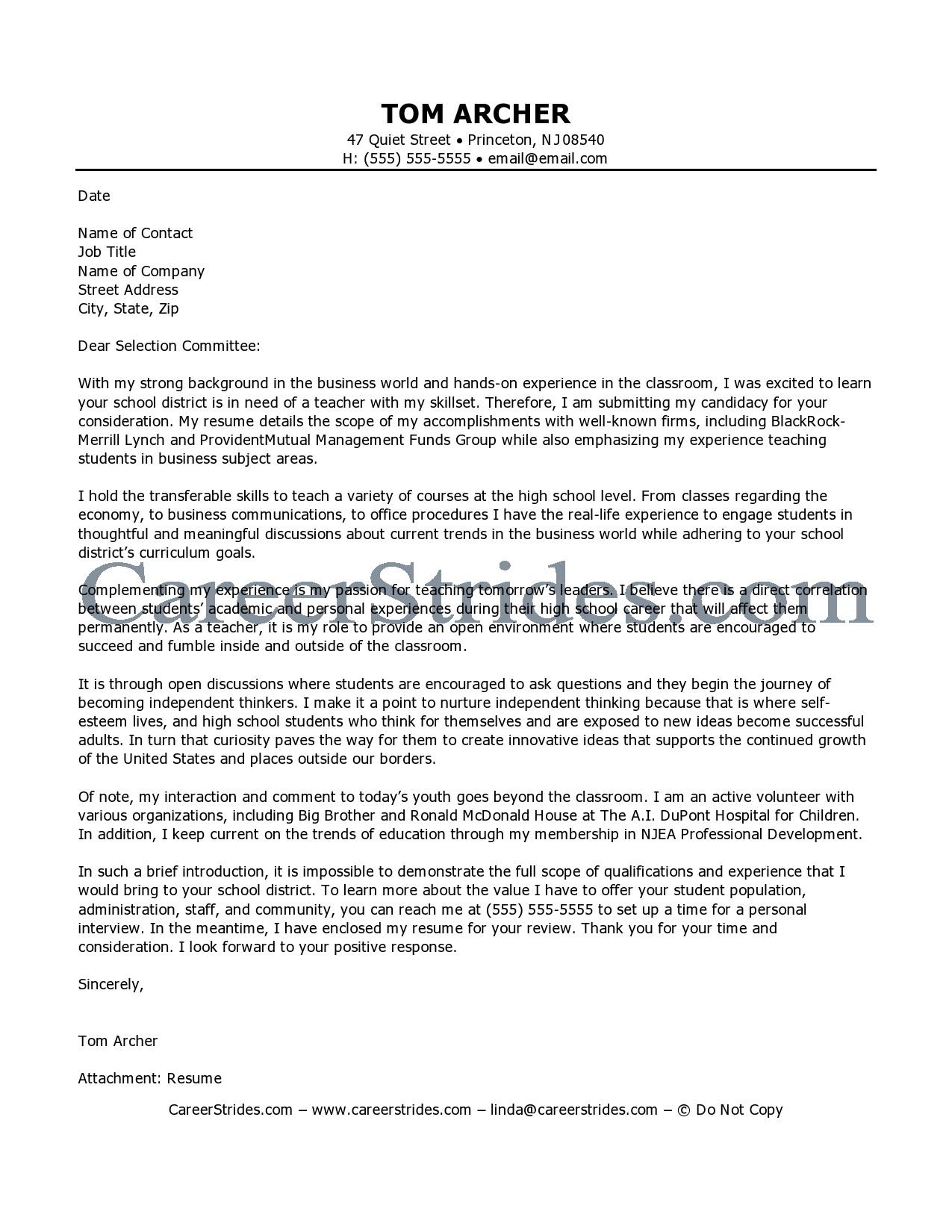 Teacher Cover Letter Samples  Education Cover Letter Samples