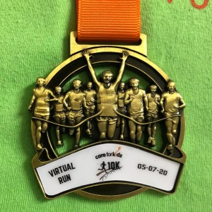 The Care for Kids virtual 10k medal