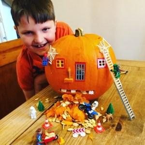 Bradley Stephens with his Lego pumpkin