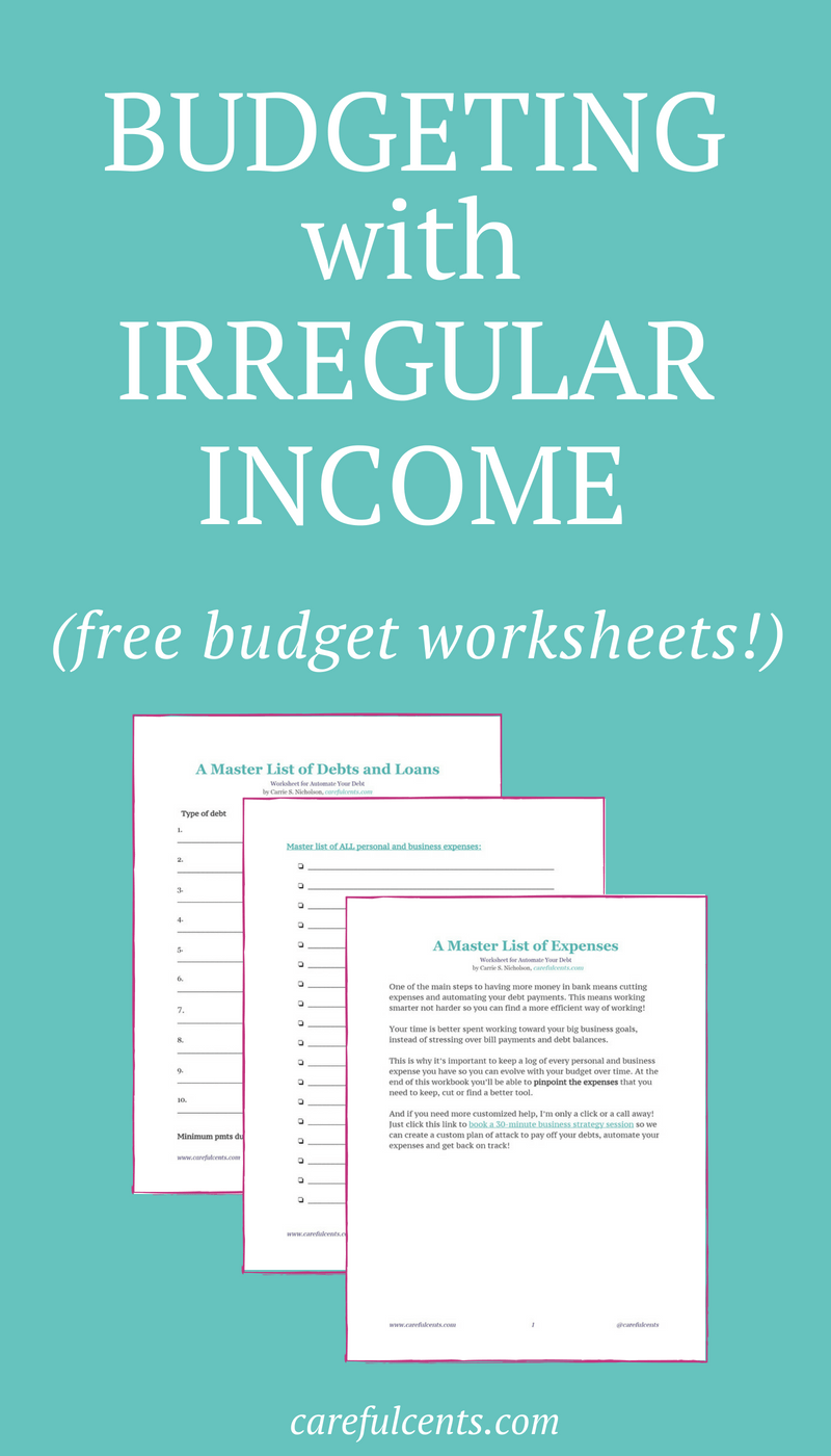 Budget Worksheet] How to Budget With Irregular Income to Avoid Going ...