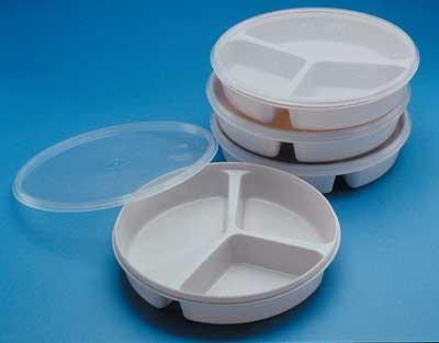 Partitioned Scoop Dish with Cover  divided plate dining aid with lid
