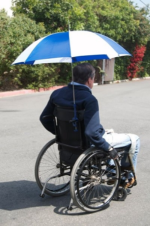 Adapted Umbrella for Wheelchairs  rain and sun protection