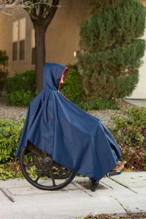 Navy Wheelchair Rain Poncho  extended length helps keep