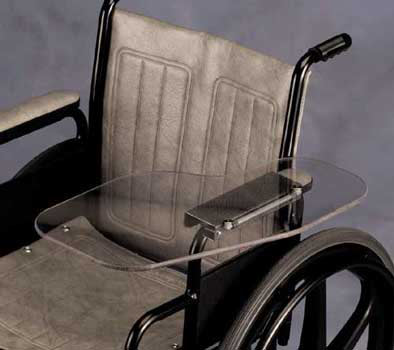 chair with desk arm royal blue spandex folding covers clear flip away wheelchair half lap tray ::