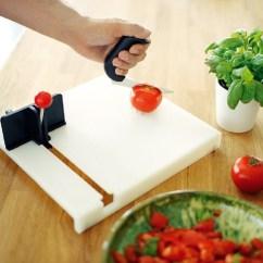Affordable Kitchen Knives Hammered Copper Backsplash Swedish Cutting Board :: One Hand Food Preparation