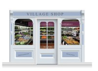 3-Drop Taunton Shop Front 'Village Shop' Mural (240cm ...