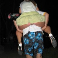 Riding piggy back in a short skirt and accidentally displaying her pussy