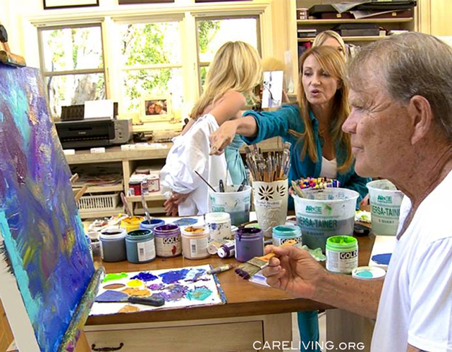 Jane Seymour and Glen Campbell painting in Malibu, CA. The art of Glen Campbell