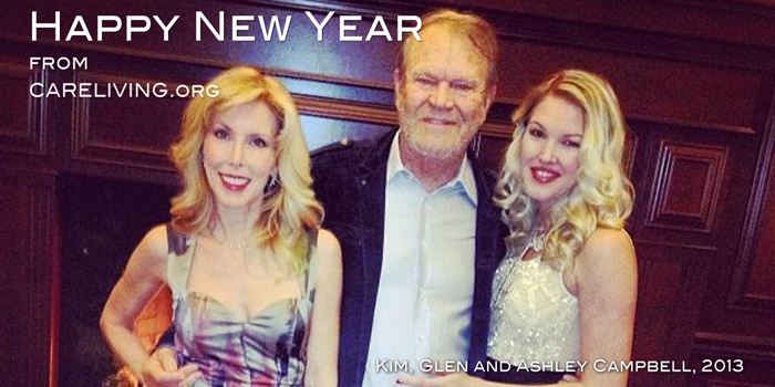 Kim, Glen and Ashley Campbell celebrating New Years Eve, 2013 for CareLiving.org