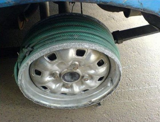 hose-on-rims-instead-of-tire