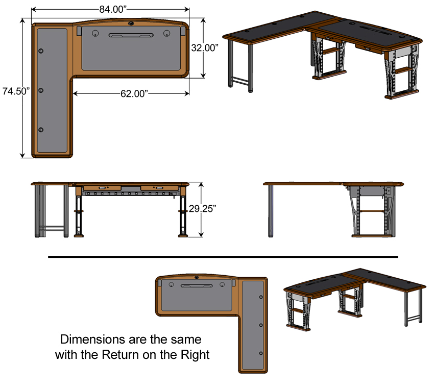 Modern Urban Computer Desk 2 L Shaped Right  Caretta