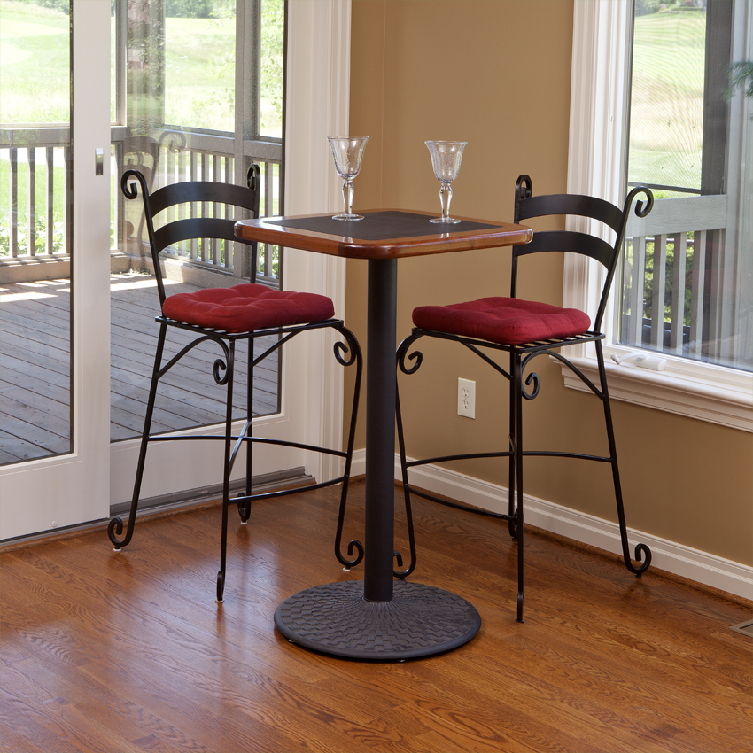 bar height kitchen tables red white and black tiles high top table - caretta workspace