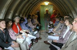 We'll Meet Again! – Ty Croes OAPS enjoy wartime songs in museums Stanton Air Raid Shelter.