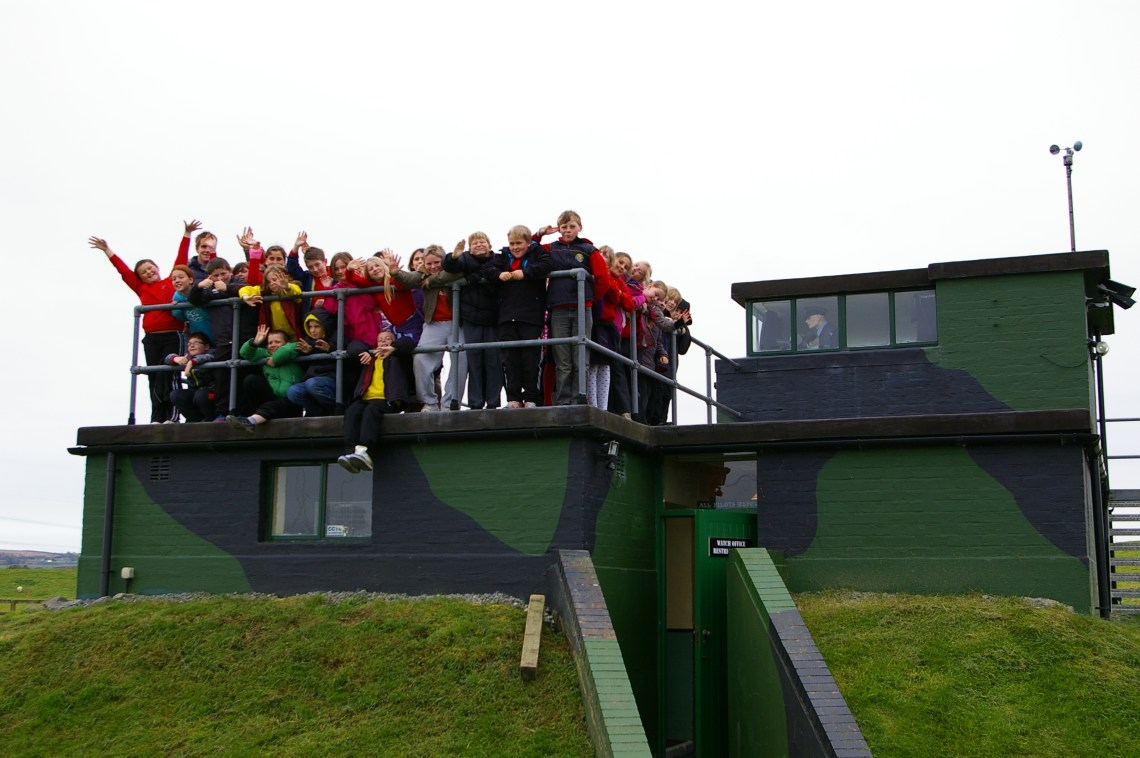 Narberth School Teachers & Year 6 pupils on observation platform at Carew Cheriton Control Tower.