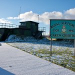 Carew Cheriton Control Tower in the snow.