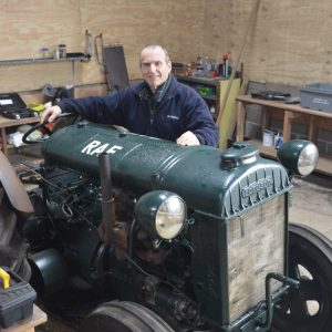 Gerald Williams pictured with the Standard Fordson Tractor nearing completion
