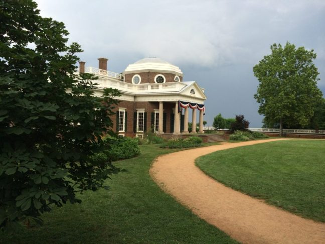 In the historic gardens of Monticello