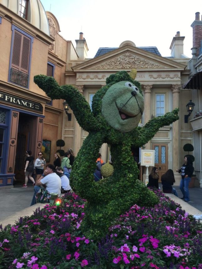 Cogsworth is dancing away the day in his flower bed home in Epcot's France. International Flower and Garden Festival