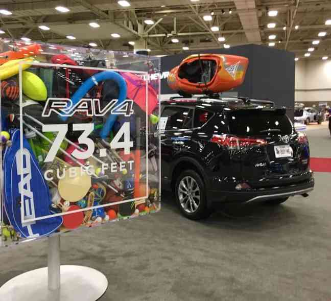 The Toyota RAV4, Toyota Crossover, hauls 73.4 cubic feet of gear.
