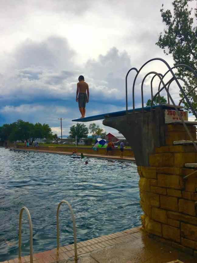Find a diving board at Balmorhea Pool with kids.