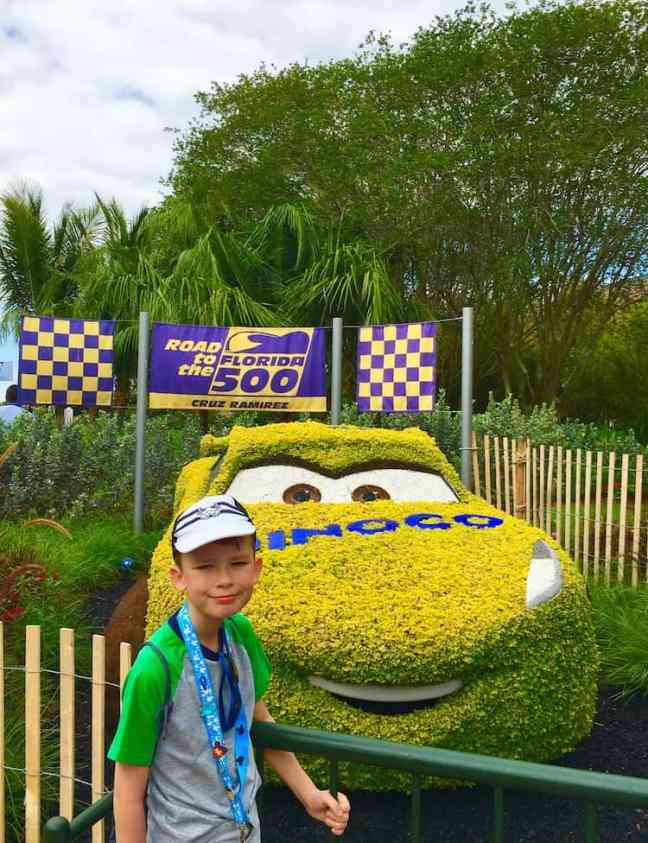Stop and take a photo with Lightening McQueen at Epcot's Flower and Garden Festival with kids.