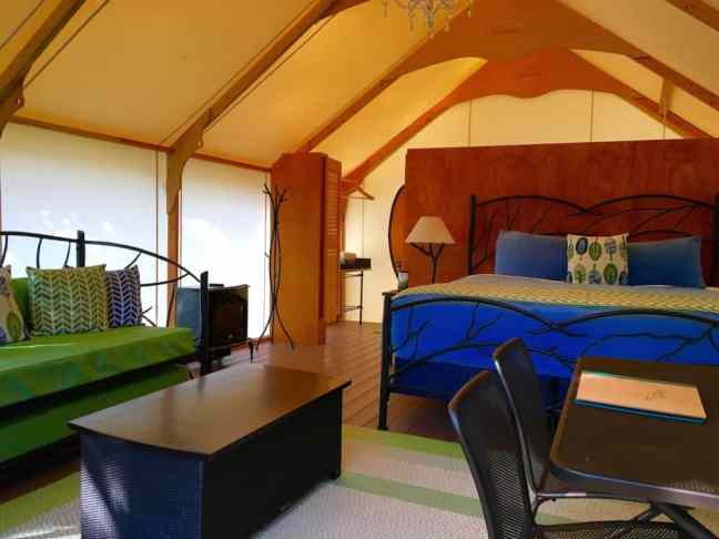 Lakedale Resort canvas cottages feature bathrooms, the best place to camp with kids in Washington.