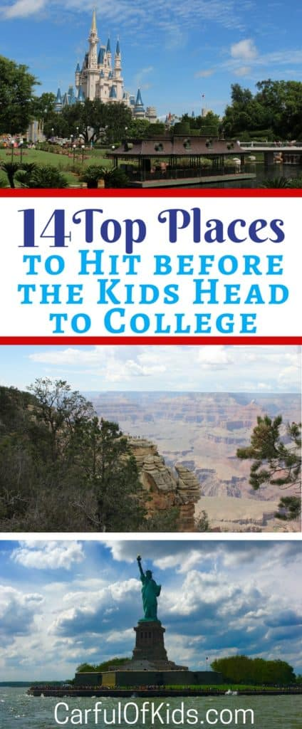 Kids grow up and move on so before they head off to college visit some of the best U.S. destinations. Got the top 14 places to explore across the U.S. for your family's next trip.