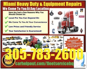 Miami heavy duty semi truck and equipment repair service