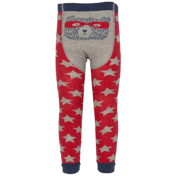 red leggings/footless tights with grey stars and a bear wearing a red eye mask made with organic cotton suited for slings