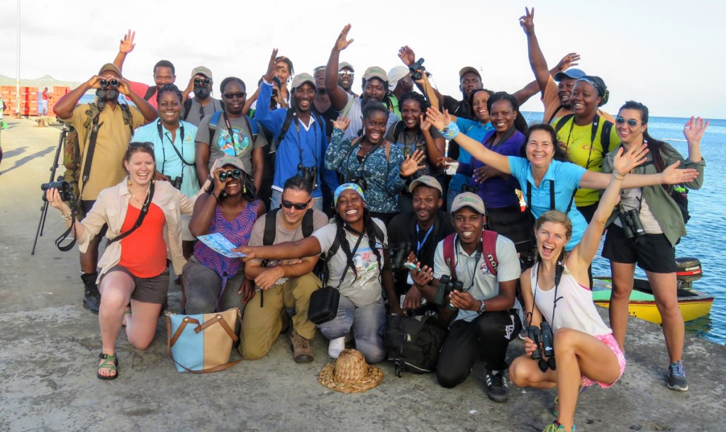 SVG Interpretive Guide Workshop Training participants and facilitators on a field trip to the Mayreau Salt Pond