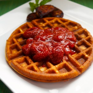 Whole Wheat Waffles with Homemade Strawberry Sauce