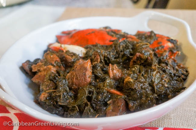 Lalo (Jute Leaves) with Beef, Spinach and Blue Crab Stew