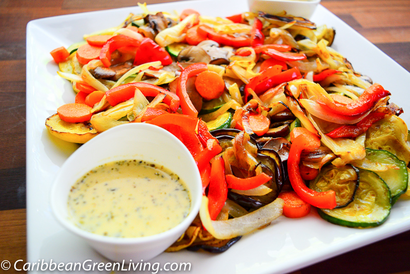 Grilled squash, eggplant and pan-roasted mushroom with herb-lemon sauce