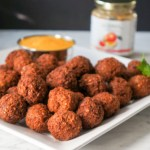 Easy Bulgur Wheat Ground Turkey Meatballs with Mango Sauce