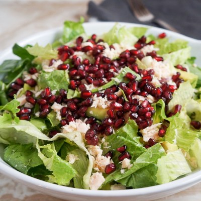 Tuna Salad with Romaine, Avocado and Pomegranate