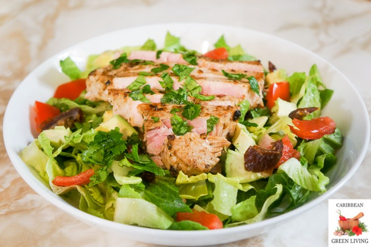 Pan Seared Tuna Steak Salad with Hot and Spicy Pineapple and Herbs