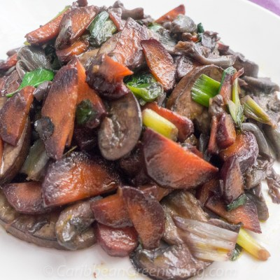 Sauteed Mushrooms, Purple Carrots, and Scallions
