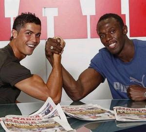 Cristiano Ronaldo and-Usain Bolt. Photo courtesy www.insidespanishfootball.com