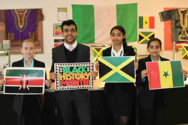 Rhiannon Cooper, Gurinder Chattu, Isis Jackson and Alifiyah Zarif celebrate Black History Month. Photo courtesy http://www.expressandstar.com/