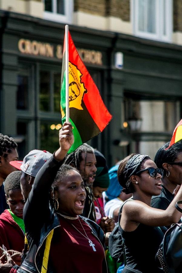 Reparations march through Brixton, Sat 1st August 2015. Photo courtesy www.brixtonbuzz.com