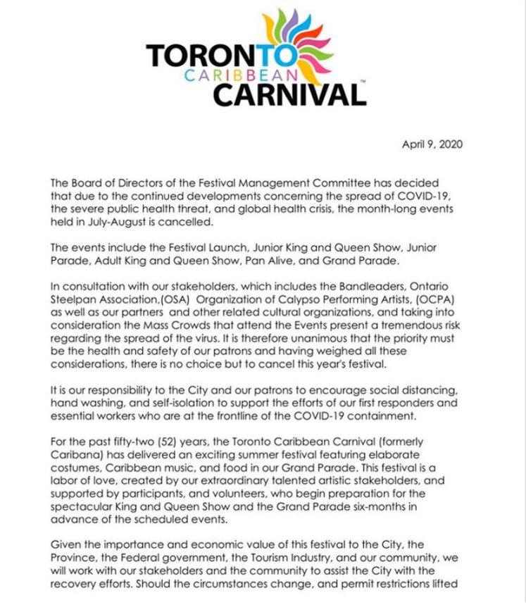 Tornoto Caribana Carnival Cancelled