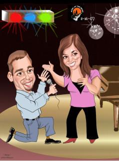 Singing wedding proposal caricature