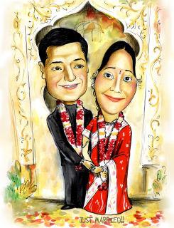 indian wedding caricature