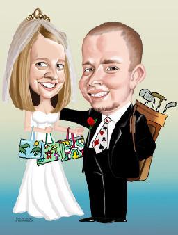 golfing groom, shopping bride