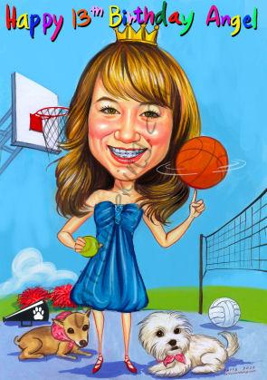 girl birthday gift caricature