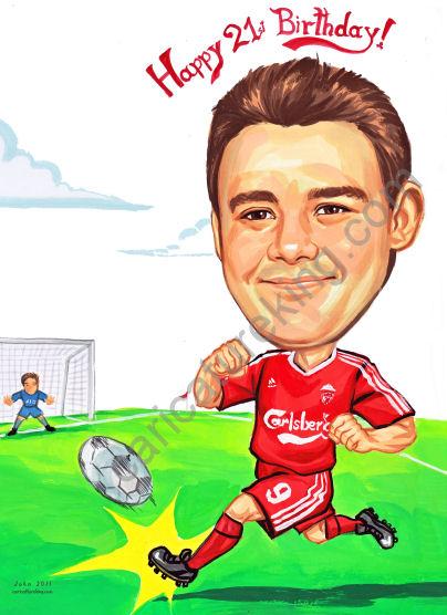soccer 21st birthday caricature